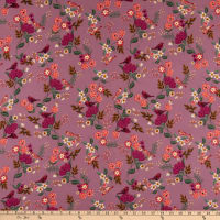 Double Brushed Knit Prints Floral Purple/Pink/Green