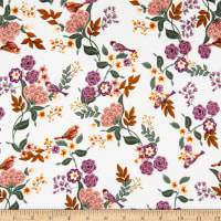 Double Brushed Knit Prints Floral White/Green/Maroon/Orange