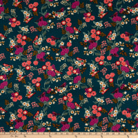 Double Brushed Knit Prints Floral Green/Red/Pink