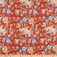 Double Brushed Knit Prints Floral Red/Pink/Blue
