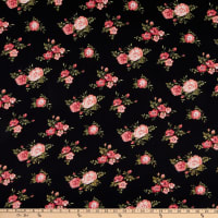 Double Brushed Knit Prints Floral Black/Red/Pink/Green Multi