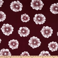 Double Brushed Knit Prints Floral Maroon/White