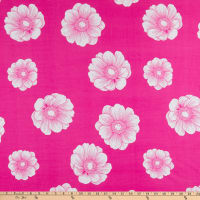Double Brushed Jersey Knit Prints Floral Hot Pink/White