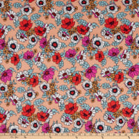 Double Brushed Knit Prints Floral Peach/Red/Pink/Light Blue/White