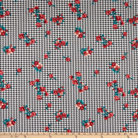 Techno Stretch Knit Prints Houndstooth Floral White/Black/Blue/Red