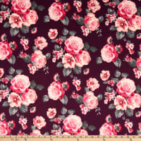 Techno Stretch Knit Prints Floral Maroon/Pink/Red/Grey