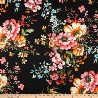 Techno Stretch Knit Prints Floral Black/Yellow/Orange/Pink/Green/Blue/White