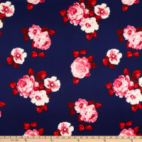 Techno Stretch Knit Prints Floral Navy Blue/Red/Pink/White