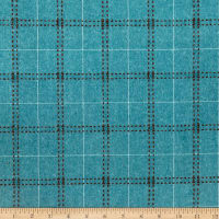 Wool Flannel Plaid Stitches Aqua Blue/Brown