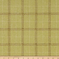 Wool Flannel Plaid Stitches Pistachio Green/Brown