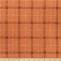 Wool Flannel Plaid Stitches Mandarin Orange/Brown