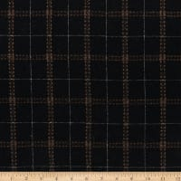Wool Flannel Plaid Stitches Black/Brown