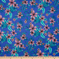 Fabric Merchants Swimwear Nylon Spandex Tropical Floral Indigo/Blush