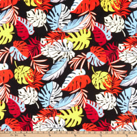 Fabric Merchants Swimwear Nylon Spandex Tropical Leaves Black/Red/Blue