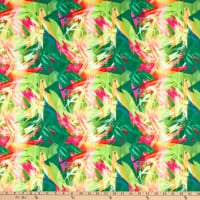 Fabric Merchants Swimwear Nylon Spandex Tropical Abstract Green/Hot Pink
