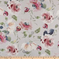 Swavelle Whitehaven Floral Barkcloth Silver Frost