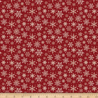 Riley Blake Designer Flannel Snowflakes Red