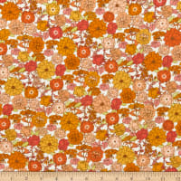 Kaufman Laguna Stretch Cotton Jersey Knit Prints Tossed Flowers Creamsicle