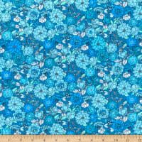 Kaufman Laguna Stretch Cotton Jersey Knit Prints Tossed Flowers Blue Jay