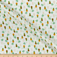 Kaufman Plisse Collection Pineapples White