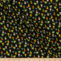 Kaufman Plisse Collection Pineapples Black