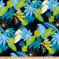 Kaufman Island Paradise Pineapples And Leaves Navy