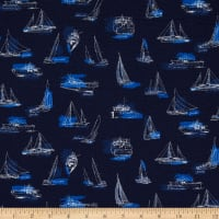 Kaufman Plisse Collection Boats Navy