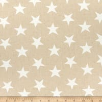 Kaufman Sevenberry Canvas Natural Stars White