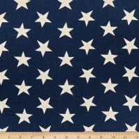 Kaufman Sevenberry Canvas Cotton Flax Natural Stars Midnight