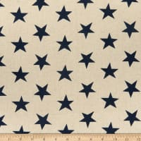 Kaufman Sevenberry Canvas Natural Stars Navy