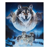 "Riley Blake Nature's Finest Dream Catcher Wolf 36"" Panel Blue/Brown"