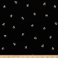 Fabric Merchants Rayon Challis Mini Floral Black/Coral
