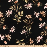 Fabric Merchants Rayon Challis Floral Black/Coral