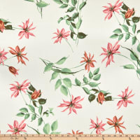 Fabric Merchants Rayon Challis Floral Ivory/Coral