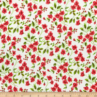Fabric Merchants Rayon Challis Multi Floral Ivory/Coral