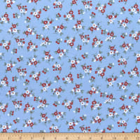 Fabric Merchants Double Brushed Poly Stretch Jersey Knit Floral Bouquet Blue/Coral