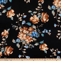 Fabric Merchants Double Brushed Poly Jersey Knit Floral Garden Black/Taupe