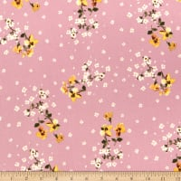 Fabric Merchants Double Brushed Poly Jersey Knit Mini Tossed Floral Bouquet Mauve