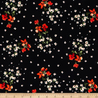 Fabric Merchants Double Brushed Poly Jersey Knit Mini Tossed Floral Bouquet Black/Coral