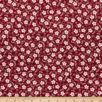 Fabric Merchants Double Brushed Poly Jersey Knit Mini Daisies Wine