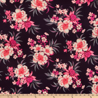 Fabric Merchants Double Brushed Poly Jersey Knit Large Floral Plum