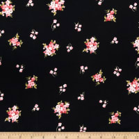 Fabric Merchants Double Brushed Poly Jersey Knit Mini Rose Bouquet Black/Coral