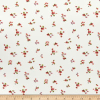 Fabric Merchants Double Brushed Poly Jersey Knit Ditsy Tossed Floral Ivory/Coral