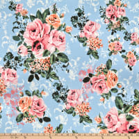 Fabric Merchants Double Brushed Poly Jersey Knit Distressed Roses Blue/Pink