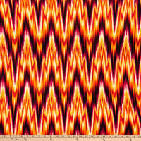 Fabric Merchants Double Brushed Poly Stretch Jersey Knit Electric Chevron Bright Orange