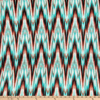 Fabric Merchants Double Brushed Poly Jersey Knit Electric Chevron Mint