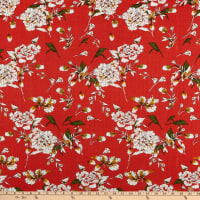 Telio Venus Cotton Rayon Voile Floral Red