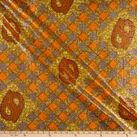 Supreme Osikani Metallic African Ankara Wax Print 6 Yards Orange