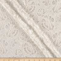 Scalloped Floral Lace on Mesh Ivory