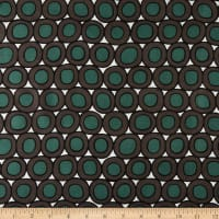 Max Mara Designer Silk Circles Dots Print Green/Brown